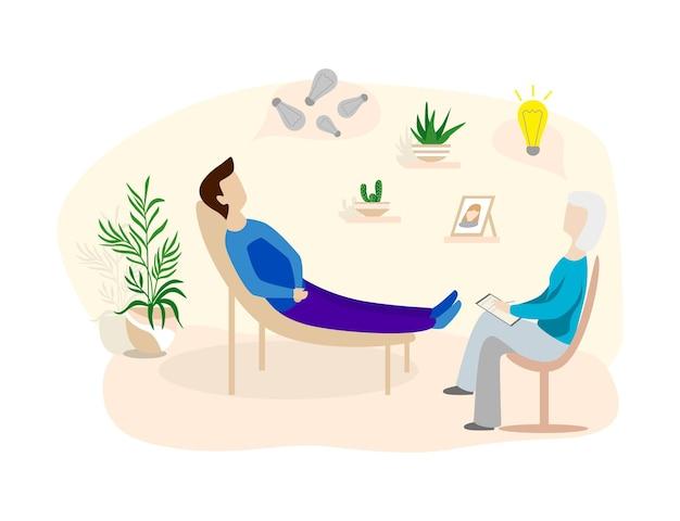 심리치료실 리셉션에 있는 환자들. 심리 치료사 또는 심리학자와 이야기하고 질문에 답하는 남자.