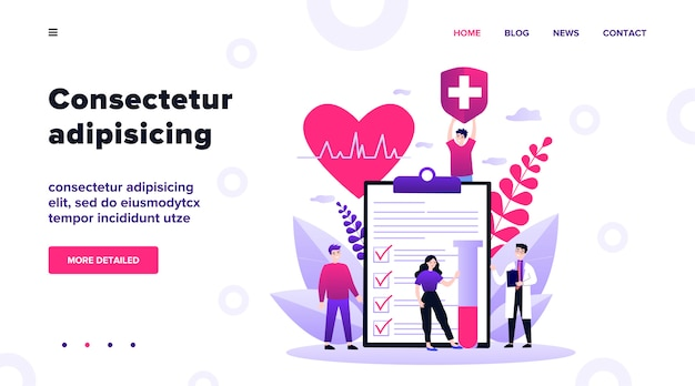 Patients and doctor advertising health insurance. people presenting medical checklist.  illustration for healthcare, protection, security, medical service concept