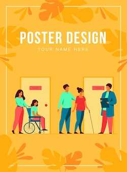Patients and doctors meeting and waiting in clinic hall. hospital interior illustration with reception, person in wheelchair. for visiting doctor office, medical examination, consultation concept
