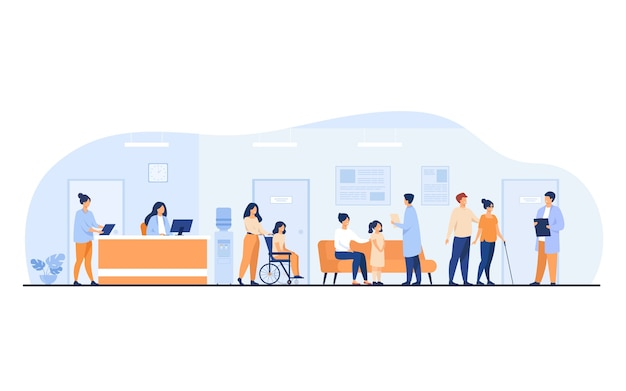 Patients and doctors meeting and waiting in clinic hall. hospital interior illustration with reception, person in wheelchair. for visiting doctor office, medical examination, consultation