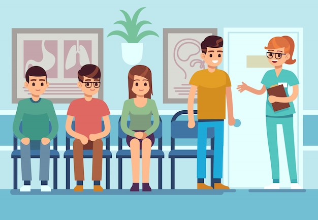 Patients in doctors waiting room. people wait hall clinic corridor hospital ambulance professional service,   illustration