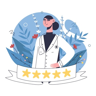 Patients evaluate doctors review and rating via mobile app. choosing top rated doctor for treatment.