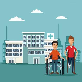 Пациенты в инвалидном кресле на костылях