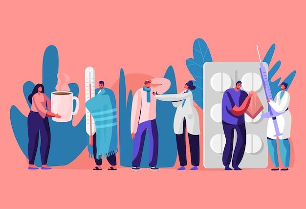 의사 임명을 위해 클리닉 또는 병원을 방문하는 환자 남성 및 여성. 만화 평면 그림