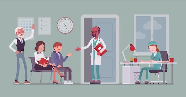 医師の診察を待っている患者