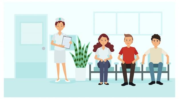 Пациенты ждут в больнице / поликлинике врача, медсестра стоит перед кабинетом. плоская иллюстрация персонажа из мультфильма