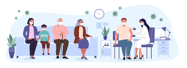 Patients and woman doctor in a medical clinic. people of differernt ages are waiting in line to receive the vaccine. vaccination and immunization of the population against covid. conceptual vector ill