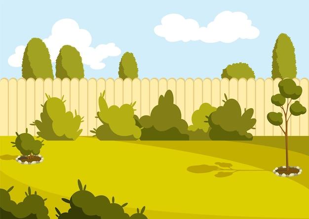 Патио. солнечный двор с зеленой лужайкой, забором и деревьями. пригородный дворик или двор с травой. открытый мультфильм задний двор иллюстрации.