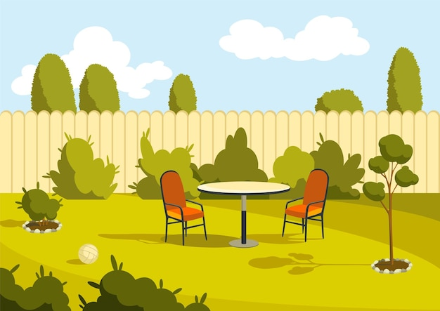 Patio area. sunny back yard with green lawn, fence and trees.