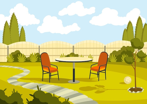 Патио с мультяшным столом и стульями. солнечный двор с зеленой травой