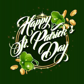 Patrick day lettering greeting vector card