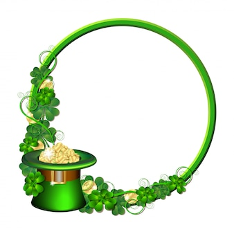 Patrick day round frame with gold coins, leprechaun hat and clover leaves