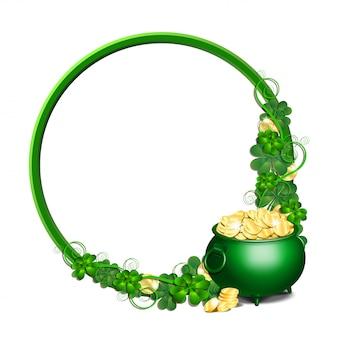 パトリックの日ラウンドゴールドコインとクローバーの葉でいっぱいのポットと緑のフレーム