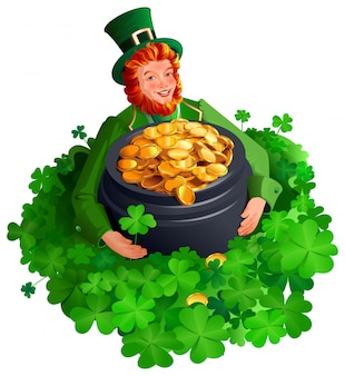 Patrick man among clover leaves holding big pot of gold coins. four leaf clover great luck find treasure