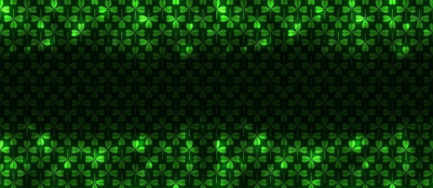 パトリックナイトのシームレスパターン、あらゆる目的に最適なデザイン。アイルランドの休日のネオンの抽象的な背景。シームレスなボーダー。グローライト効果の背景。アイルランドの緑のホリデーパーティー。