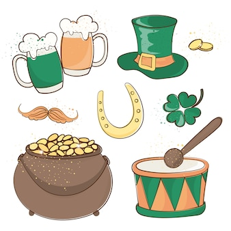 Patrick's beer saint patrick's day vector illustration set