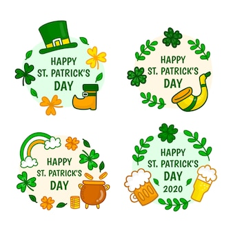 Patrick's day event circular badges with traditional elements