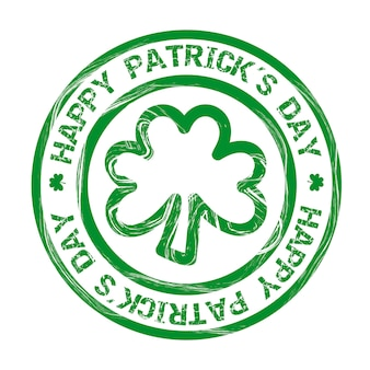 Patrick´s day illustration with clover seal vector illustration