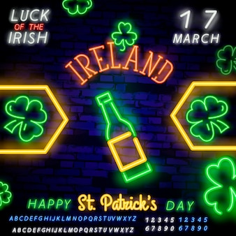 Patrick's day neon sign banner