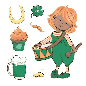 Patrick's demo saint patrick's day vector illustration set