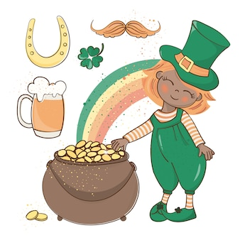 Patrick's gold saint patrick's day vector illustration set