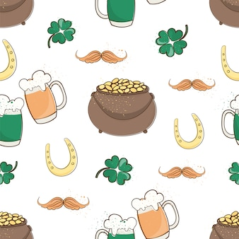 Patrick's luck saint patrick's day seamless pattern vector