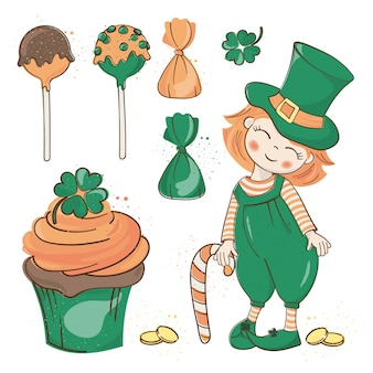 Patrick's party saint patrick's day vector illustration set