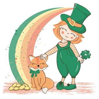Patrick's rainbow saint patrick's day vector illustration