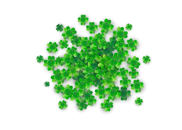 Patricks day background in round circle shape with green clovers