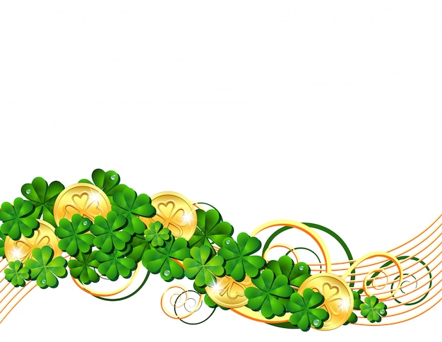 Patricks day card with clovers and golden coins