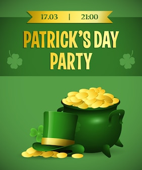 Patricks day party festival poster design