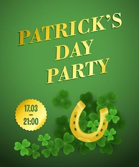 Patricks day party festive poster design