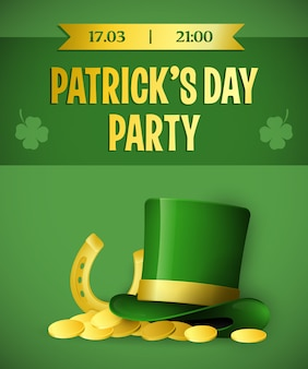 Patricks day party green banner design