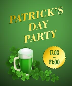 Patricks day party green invitation design