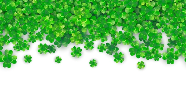 Patricks day seamless border background with green clover heap