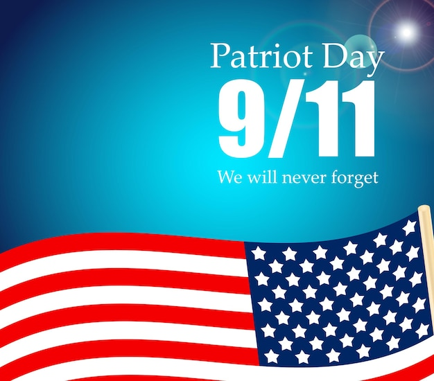 Patriot day the 11 9 label we will never forget vector illustration eps10