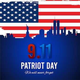 Patriot day background, new york city skyline and american grunge flag. vector