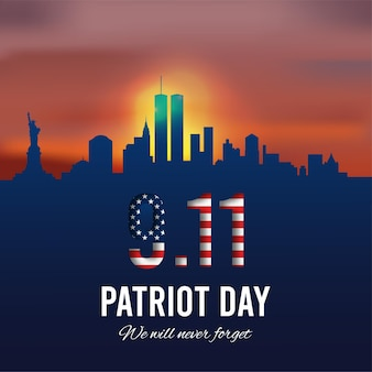 Patriot day background new york city skyline and american grunge flag vector
