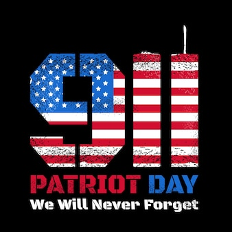 Patriot day design with american flag and new york world trade center twin towers skyline. vector illustration design. remember 911, 11 september attack concept