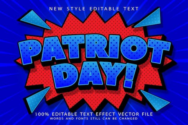 День патриота редактируемый текстовый эффект с тиснением в мультяшном стиле