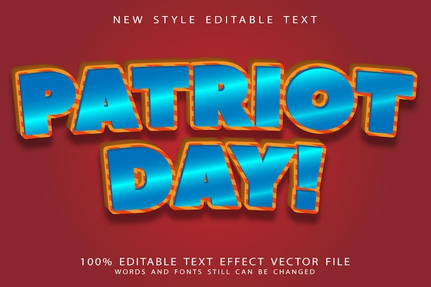 Patriot day editable text effect emboss comic style