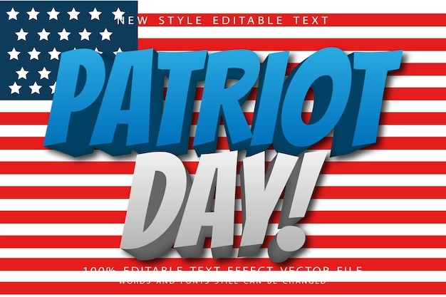 Patriot day editable text effect emboss modern style