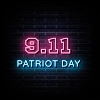 愛国者の日のネオンサインとシンボル