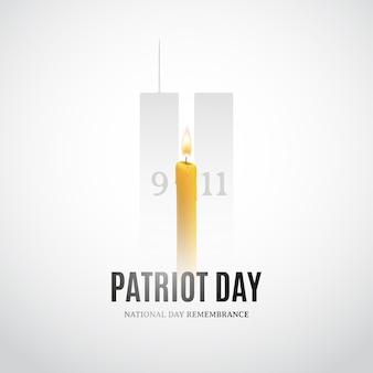 Patriot day  with candle and building silhouettes.