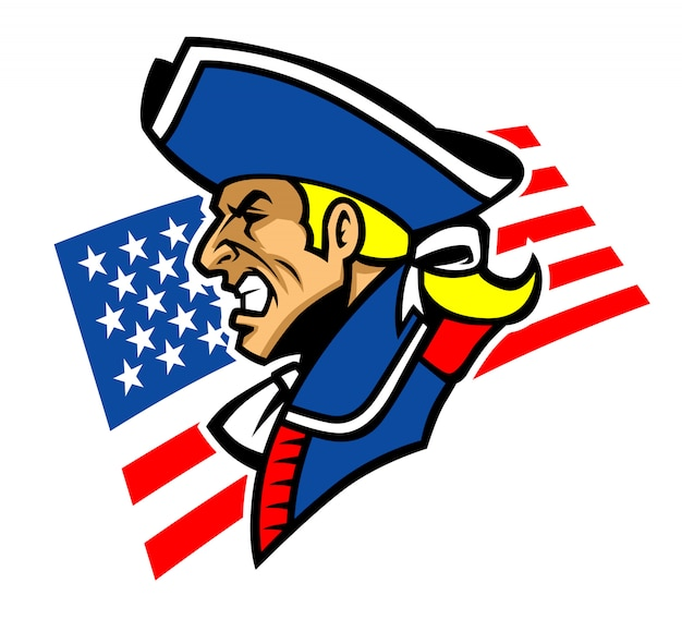 Patriot mascot with usa background