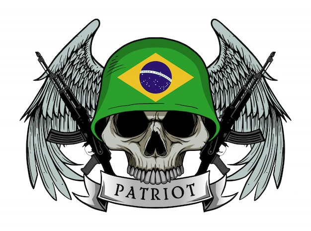 Patriot skull with brazil flag helmet