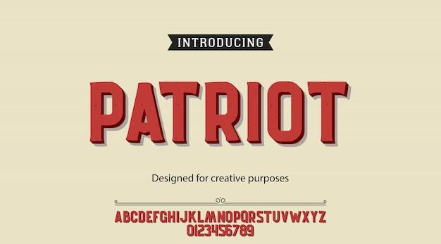 Patriot typeface font alphabet