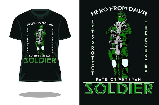 Патриот ветеран солдат ретро футболка дизайн