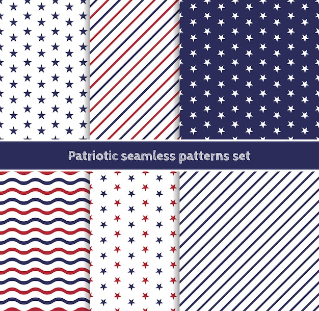 Patriotic american seamless patterns set with stripes and stars in traditional red, blue and white colors.