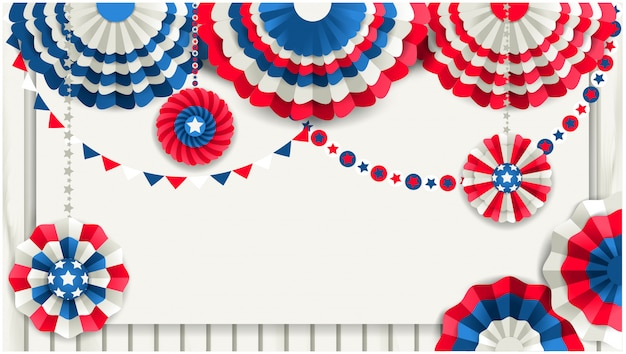 Patriotic background with paper fans hanging on a wooden fence